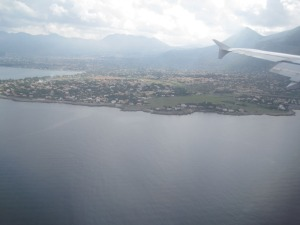 View outside the airplane near Palermo